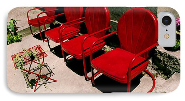 IPhone Case featuring the photograph Red Chairs by Tom Brickhouse