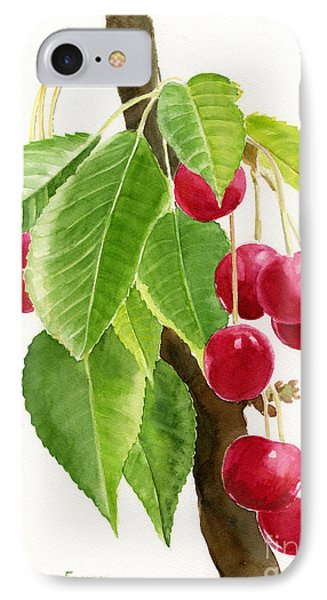 Red Cherries On A Branch IPhone Case by Sharon Freeman