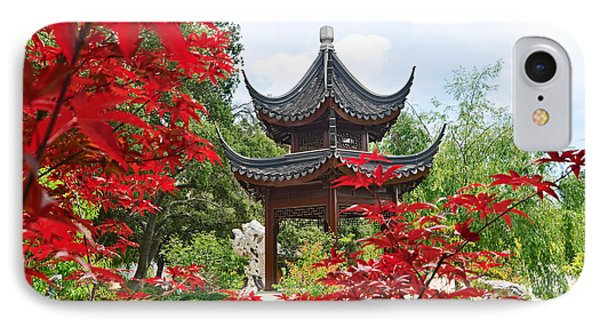 Tree iPhone 7 Case - Red - Chinese Garden With Pagoda And Lake. by Jamie Pham
