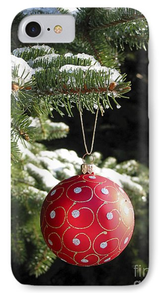 Red Christmas Ball On Fir Tree IPhone Case by Elena Elisseeva