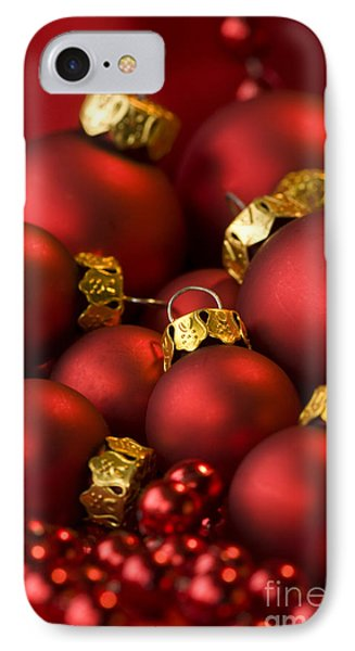 Red Christmas Baubles Phone Case by Anne Gilbert