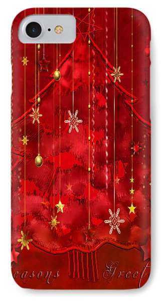 IPhone Case featuring the digital art Red Christmas Tree by Arline Wagner