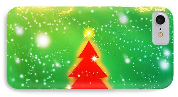 Red Christmas Tree Phone Case by Atiketta Sangasaeng