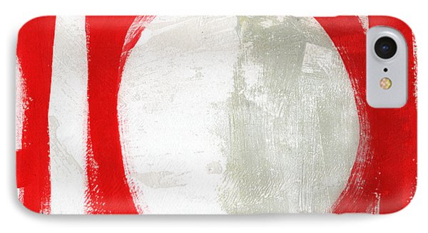 Red Circle 3- Abstract Painting IPhone Case by Linda Woods