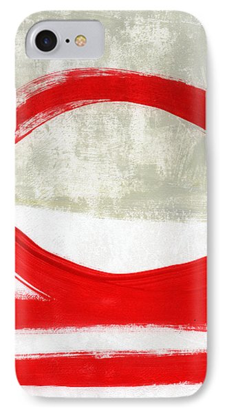 Red Circle 4- Abstract Painting IPhone Case by Linda Woods