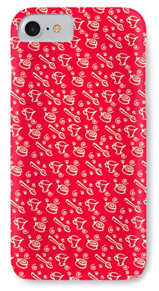Red Coffee Cup Pattern Phone Case by John Keaton