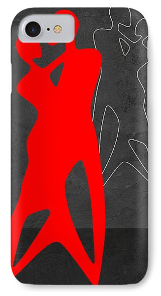 Red Couple Dance IPhone Case by Naxart Studio