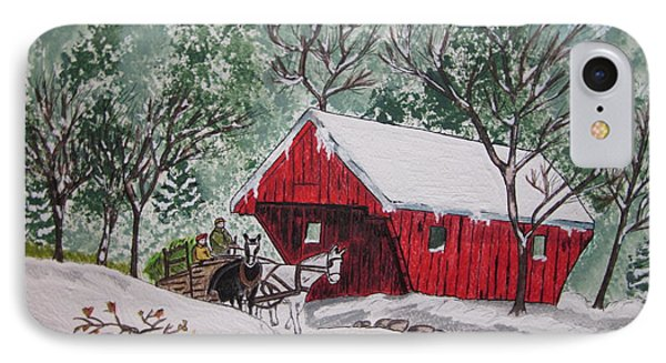 Red Covered Bridge Christmas IPhone Case by Kathy Marrs Chandler