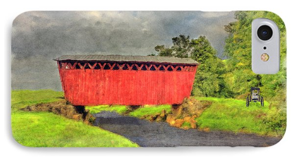 Red Covered Bridge With Car Phone Case by Dan Friend