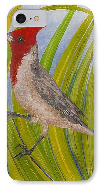 Red-crested Cardinal IPhone Case by Anna Skaradzinska