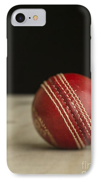Red Cricket Ball Phone Case by Edward Fielding