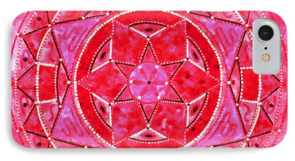 Red Crystal Mandala Phone Case by Vlatka Kelc