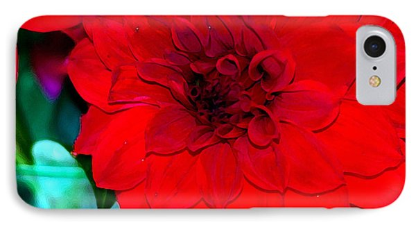 IPhone Case featuring the photograph Red Dahlia by Lehua Pekelo-Stearns