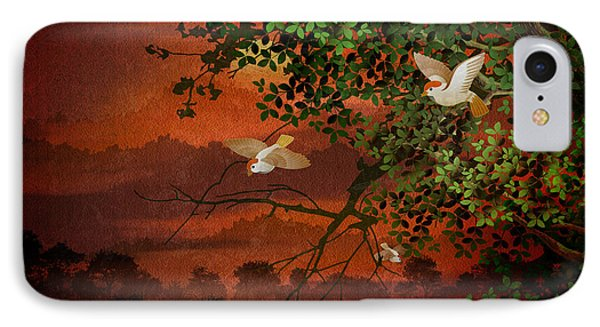 Red Dawn Sparrows Phone Case by Bedros Awak