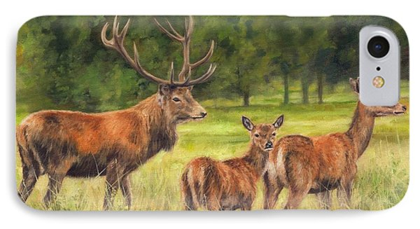 Red Deer Family IPhone Case by David Stribbling