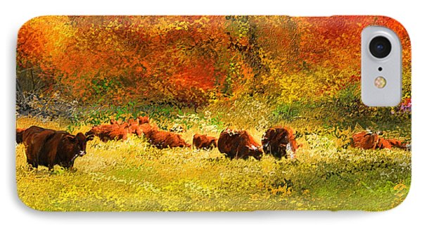 Red Devon Cattle In Autumn -cattle Grazing IPhone Case by Lourry Legarde