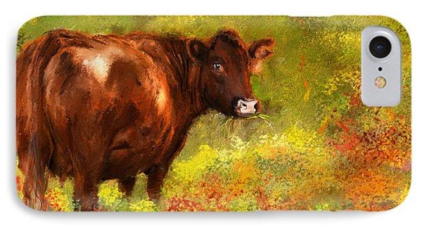 Red Devon Cattle - Red Devon Cattle In A Farm Scene- Cow Art IPhone Case by Lourry Legarde