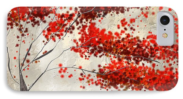 Red Divine- Autumn Impressionist IPhone Case by Lourry Legarde