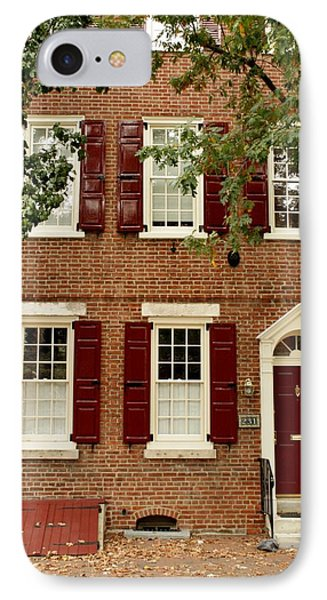 Red Door And Shutters IPhone Case by Christopher Woods
