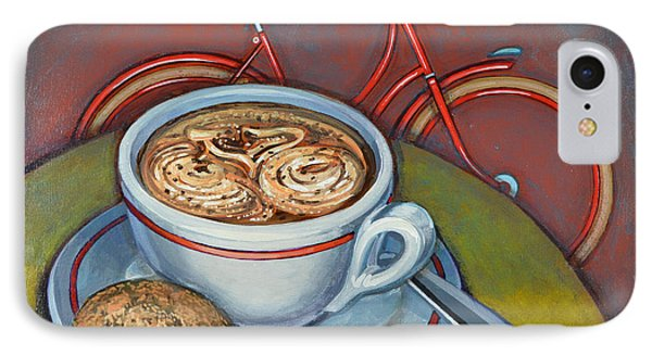 Red Dutch Bicycle With Cappuccino And Amaretti IPhone Case by Mark Jones