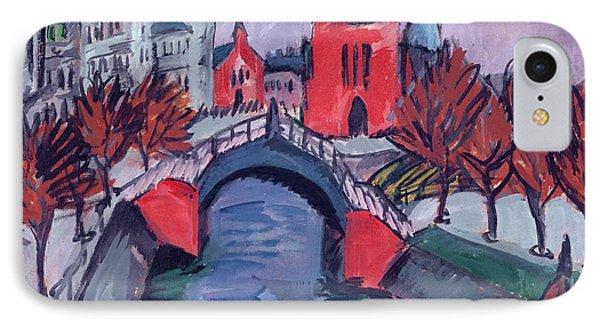 Red Elisabeth Riverbank Berlin IPhone Case by Ernst Ludwig Kirchner