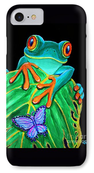Red-eyed Tree Frog And Butterfly Phone Case by Nick Gustafson
