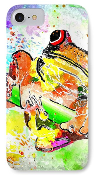 Red Eyed Tree Frog Grunge IPhone Case by Daniel Janda