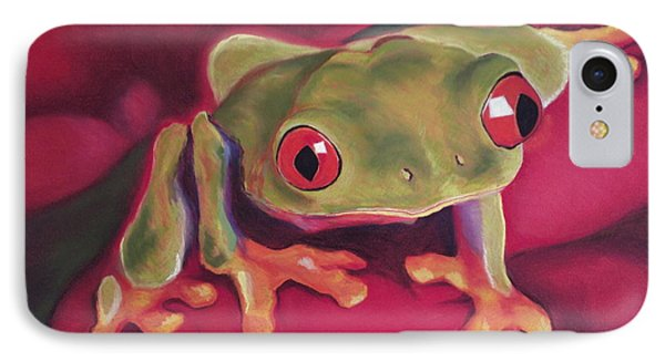 Red-eyed Tree Frog On Red Foliage IPhone Case