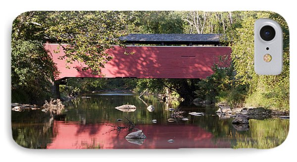Red Fairhill Covered Bridge Two IPhone Case by Alice Gipson