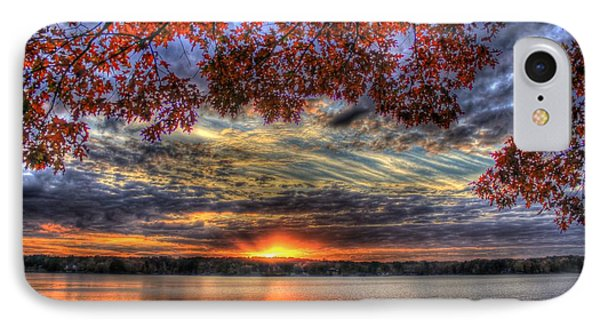 IPhone Case featuring the photograph Good Bye Till Tomorrow Fall Leaves Sunset Lake Oconee Georgia by Reid Callaway