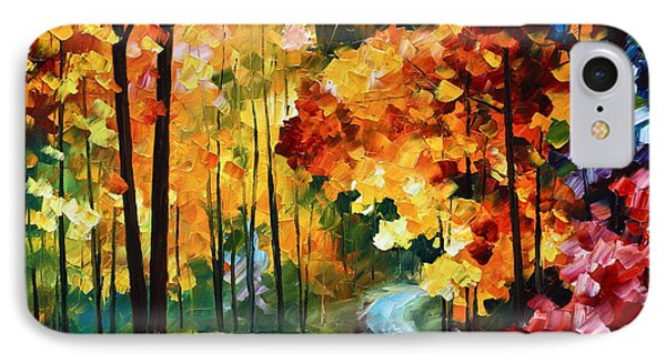 Red Fall IPhone Case by Leonid Afremov