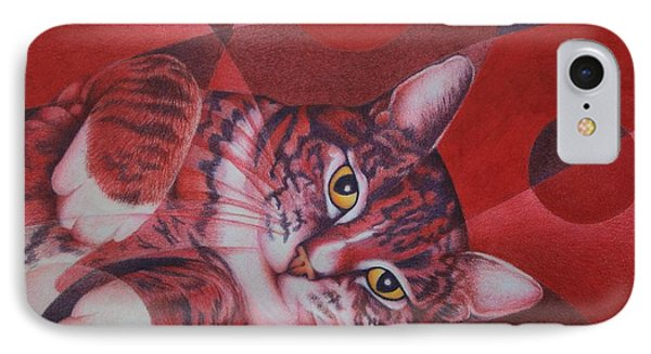 IPhone Case featuring the painting Red Feline Geometry by Pamela Clements