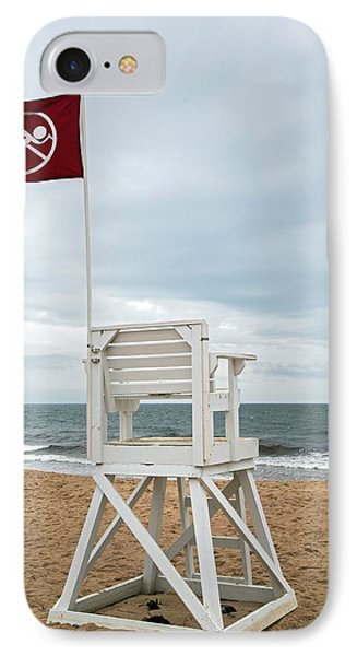 Red Flag At A Beach IPhone Case by Jim West