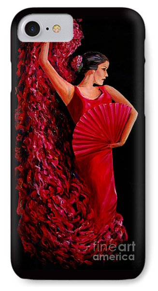 IPhone Case featuring the painting Red Flamenco Dancer by Nancy Bradley