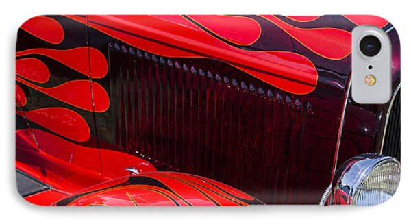 Red Flames Hot Rod IPhone Case by Garry Gay