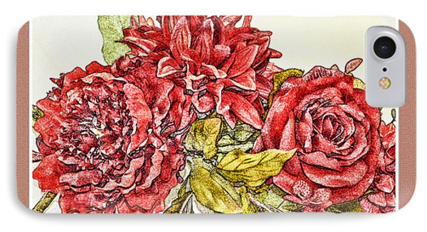 Red Floral Photoart Phone Case by Debbie Portwood
