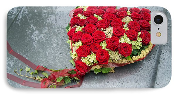 Red Flower Heart With Roses - Beautiful Wedding Flowers IPhone Case by Matthias Hauser