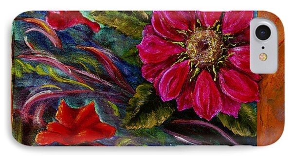 IPhone Case featuring the painting Red Flower In Rust And Green by Lenora  De Lude