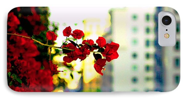 Red Flowers Downtown IPhone Case by Matt Harang