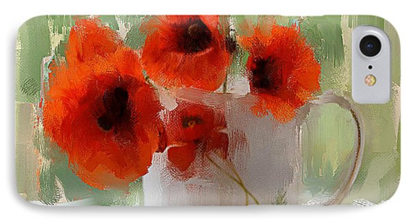 Red Flowers In A Cup IPhone Case by Yury Malkov