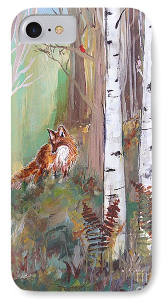 Red Fox And Cardinals IPhone Case by Robin Maria Pedrero