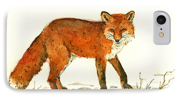 Red Fox In The Snow IPhone Case by Juan  Bosco