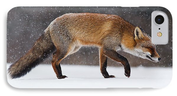 Red Fox Trotting Through A Snowshower IPhone Case