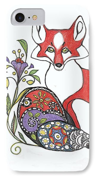 Red Fox With Paisley Tail IPhone Case by Peggy Wilson