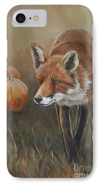 Red Fox With Pumpkins Phone Case by Charlotte Yealey
