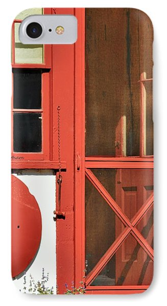 Red Framed Window And Door IPhone Case by Kae Cheatham