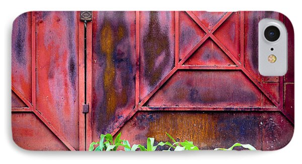IPhone Case featuring the photograph Red Gate Green Corn by Ronda Broatch