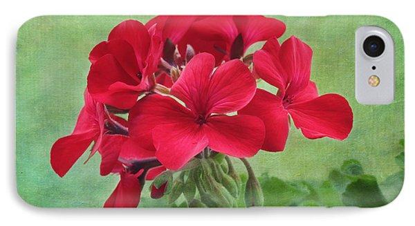 Red Geranium Flowers IPhone Case by Kim Hojnacki