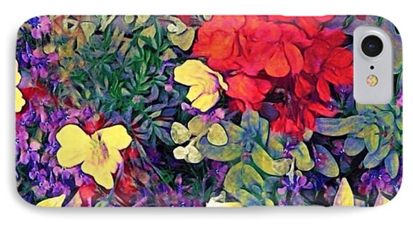 Red Geranium With Yellow And Purple Flowers - Square IPhone Case by Lyn Voytershark