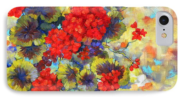 Red Geraniums II IPhone Case by Peggy Wilson
